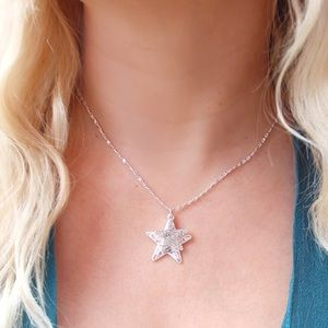 Silver Star Pave Charm Necklace